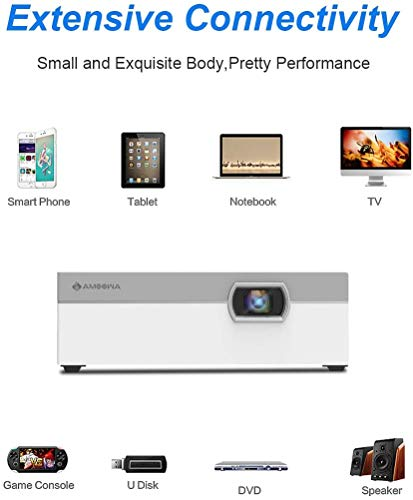 Amoowa Smart Mini Projector HD DLP Pocket Size 200 Lumens Movie WiFi Home&Outdoor Video Wireless Projector,Support iPhone Android Pico Projector