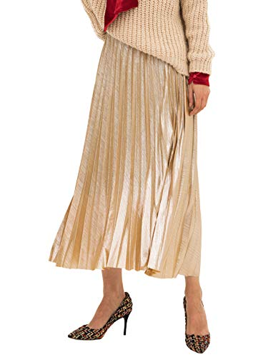 Amormio Women's Glittery Gold/Silver High-Waist Metallic Accordion Pleated Formal Party Maxi Skirt (Shiny-Champagne, Large)