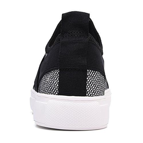 Women's Sneaker 6756 Lightweight TIOSEBON Silvery Slip Toe Fashion Sneakers Flex Round Shoes On RUBdq