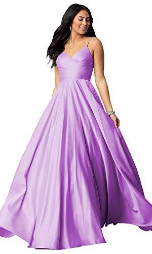 Women's Spaghetti Strap A Line V Neck Satin Bridesmaid Dress Long Maxi Prom Evening Dress Ruched Bodice Lilac Size 6 ()