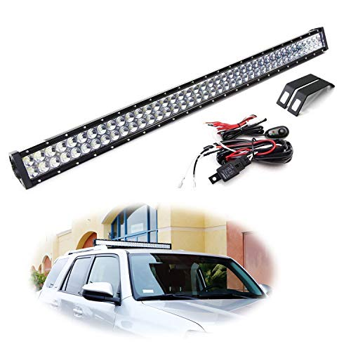 (iJDMTOY OEM Roof Rack Mount 40-Inch LED Light Bar Kit For 2010-up Toyota 4Runner, Includes (1) 240W High Power Double Row LED Lightbar, Cross Bar Mounting Brackets & On/Off Switch Wiring)