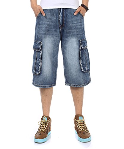 Cargo Loose Fit Jeans - PY-BIGG Men's Jeans Shorts Denim Cargo Shorts Relaxed Fit Big and Tall Loose Casual Plus Size 30W-46W (44, Blue B)