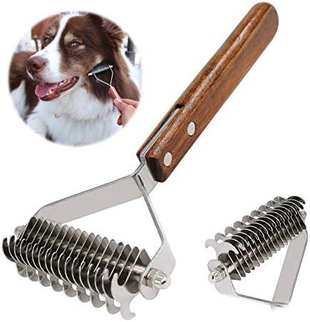 AIDIYA Coat King Rake Pet Undercoat Rake Dog Dematting Comb Pet Grooming Brush Deshedding Tool 17+9 Double Sided Teeth Undercoat Rake (DUAL)