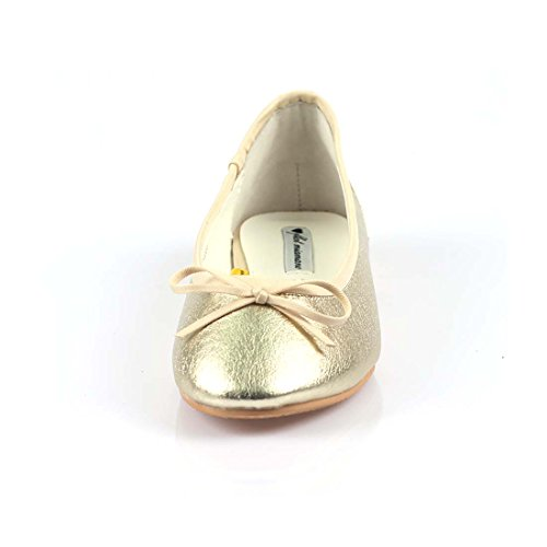 Iloveflat Donna Casual Balletto In Pelle Comfort Morbido Slip On Flats Scarpe Nuovi Colori Oro