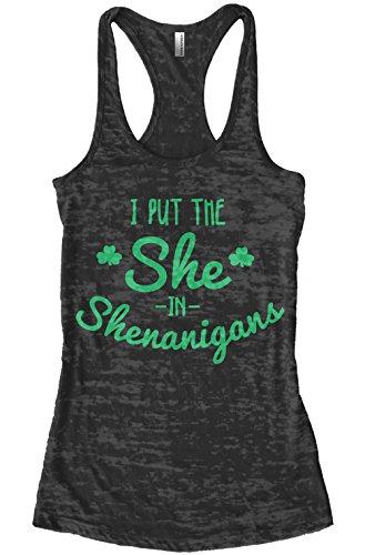 [Threadrock Women's I Put the She in Shenanigans Burnout Racerback Tank Top L Black] (Cute St Patricks Day)