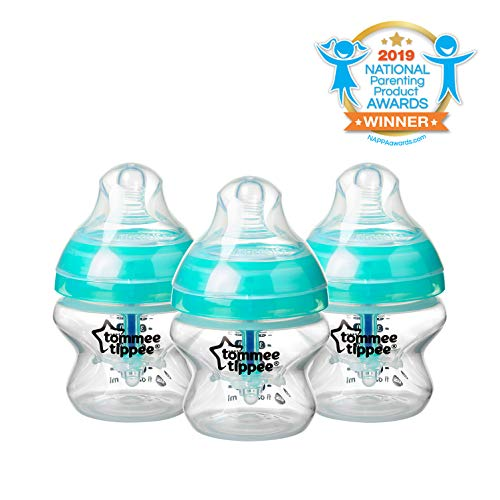 Tommee Tippee Advanced Anti-Colic Baby Bottle, Extra-Slow Flow Breast-like Nipple, BPA-Free - Blue - 5 Ounce, 3 Count