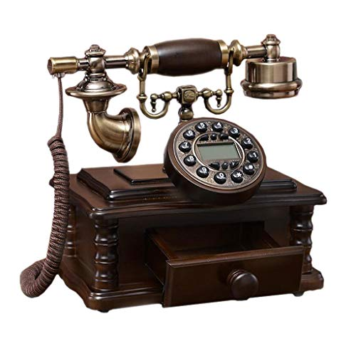 (SAN_X Retro Phone Double Bell Retro Phone with Drawer Brown Solid Wood Metal Button Pastoral Fashion Creative Seat European Home Office 23cm 24cm)