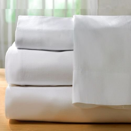 24 Pcs King Flat Sheet White (108''x110'') T-200 Percale Hotel Linen (Available in Bulk/ 2-Dozens) (King) by Golden Mills (Image #4)