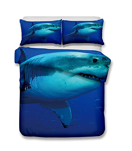 Damara Ferocious shark series 3D Bedding Set Print Duvet Cover Set Lifelike Bed Sheet #01 (2, Queen)