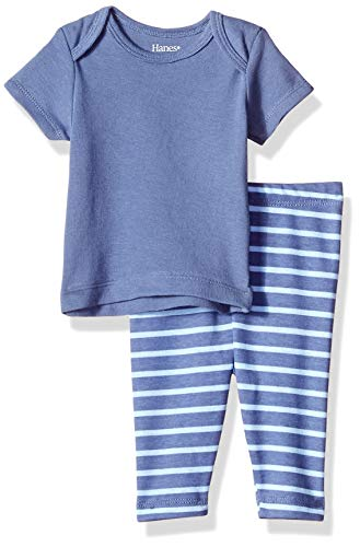 Hanes Ultimate Baby Boys Flexy 2 Piece Set (Pant with Short Sleeve Crew Tee), Blue Stripe, 6-12M