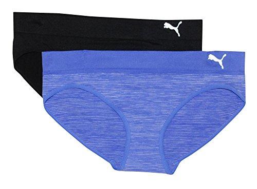 Puma Women's 2-Pack Seamless Super Soft Sport Stretch Bikini Panty, Blue, Small
