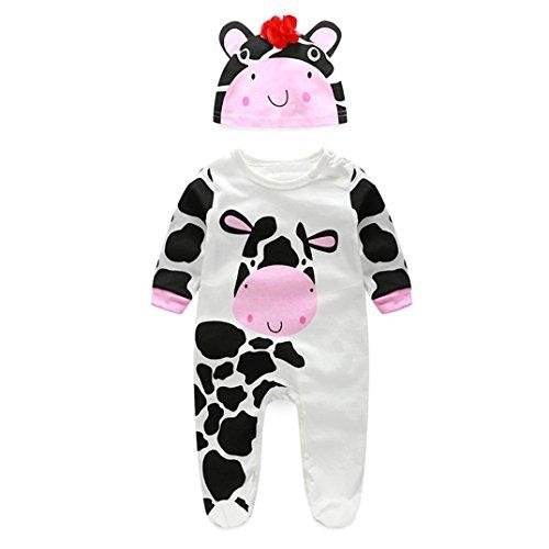 Fullfun Newborn Infant Baby Boys Girls Romper+Hat Jumpsuit Bodysuit Outfit Clothes Sets (12months, white)