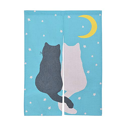 Xcellent Global Hanging Japanese Noren Curtain Panel White and Black Cat Custom Made Curtain Doorway Panel Room Dividers for Partition Home Restaurant 33.5 X 47.2 Inch (Kitchen Divider Curtain)