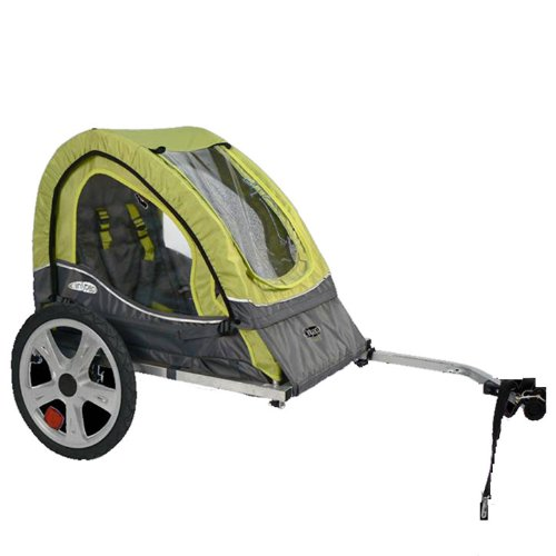 Pacific Cycle InStep Sync Single Bicycle Trailer, Green/Gray (Instep 2 Bike Trailer)