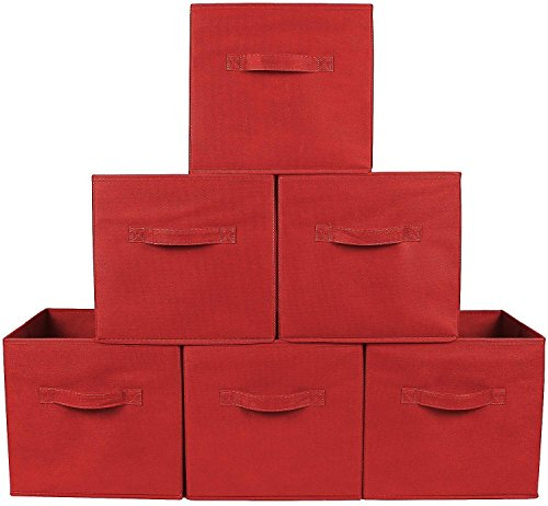 TOYFUL 6 Pack Foldable Fabric Cube Collapsible Drawer Organizer for Cubes Decorative Cloth Solutions Storage Cube Basket Bin (Red)