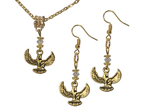 (ViciBeads Set, Egyptian Isis Gold Colored Pendant with Austrian Crystal+ Earrings+Free Chain Bag)