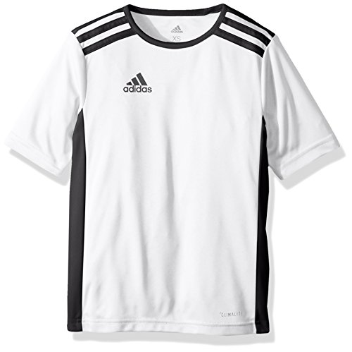adidas Unisex Youth Soccer Entrada Jersey, White/Black, Large - Youth White Football Jersey