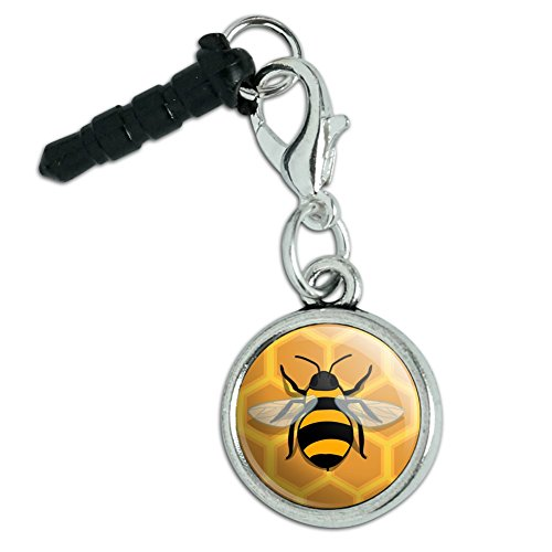 Bee on Honeycomb Mobile Cell Phone Headphone Jack Anti-Dust Charm fits iPhone iPod Galaxy