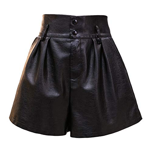 SCHHJZPJ Womens Black Faux Leather Shorts, High Waisted Wide Leg Shorts for Women (Black, Small)