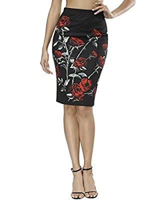Fancyqube Women's Office Pencil Skirt Elastic High Waist Stretchy Floral Skirts Bodycon Midi Skirt