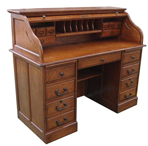 Roll Top Desk Solid Wood - Executive Oak Desk 54