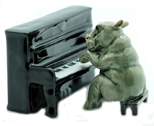 Grandroomchic Animal Miniature Handmade Porcelain Statue Hippo Playing Piano Musical Figurine Collectibles Gift ()