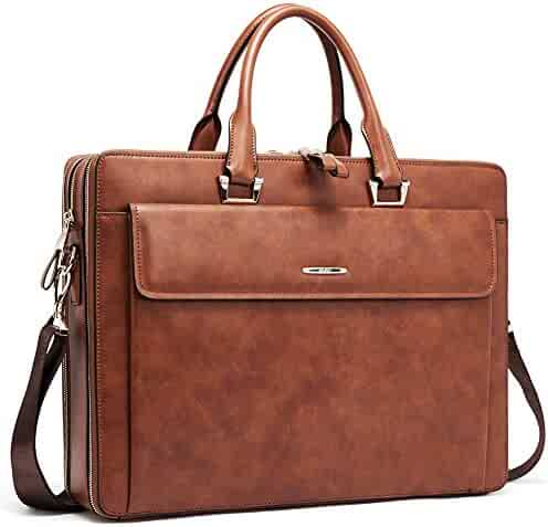 Cluci Women Leather Briefcases Slim Large Business 15.6