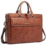 Cluci Women Leather Briefcases Slim Large Business 15.6'' Laptop Vintage Shoulder Bag for Men brown