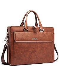 """Women Leather Briefcases Slim Large Business 15.6"""" Laptop Vintage Shoulder Bag for Men Brown"""