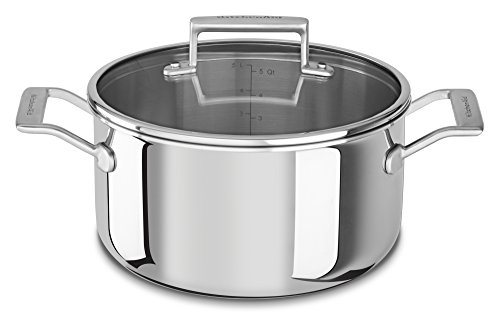 - KitchenAid KC2T60LCST Tri-Ply 6 quart Low Casserole with Lid, Stainless Steel, Medium