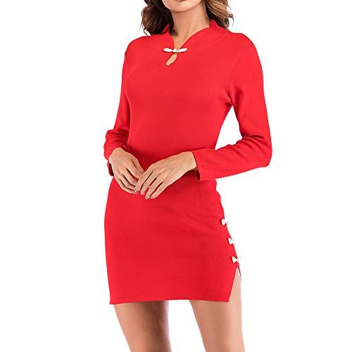 LisYOU Women Sexy Retro Cheongsam Knit Mini Dress Stand Collar Split Sheath Dress(XL,Red) ()