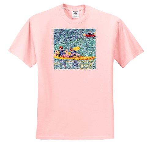 CherylsArt Scenery - Kayak Scene in Pointillism - T-Shirts - Adult Light-Pink-T-Shirt Medium (ts_14312_35)