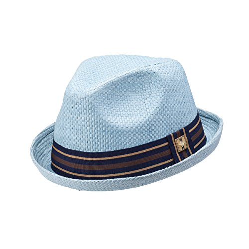 Peter Grimm Depp Natural Straw Fedora - Blue (XXL)