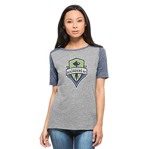 MLS Seattle Sounders Fc Women's '47 Empire Tee, Vintage Grey, Small (Seattle Cap Sleeve T-shirt)