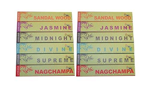 (Set of 12 Narayana Masala Nag Champa, Sandalwood, Jasmine, Supreme, Divine, Midnight Incense Sticks - 2 Packs each of 6 different)