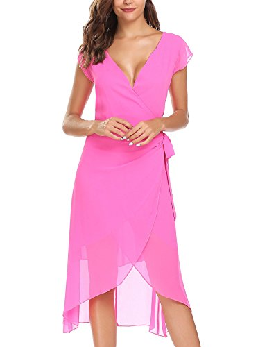 Dress Ruffle Sleeve Dress Wrap Rose Self ANGVNS V A Summer Cap line Neck Red Women's Chiffon Tie xzqpvnHzEw
