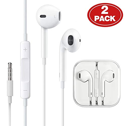 [2 Pack] Headphones/Earphones/Earbuds, ebasy 3.5mm Wired Headphones Noise Isolating Earphones Built-in Microphone & Volume Control Compatible iPhone iPod iPad Samsung/Android / MP3 MP4