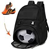 Soccer Bags - Sports Backpacks for Soccer, Basketball, Football & Helmet Separate Ball or Shoes Holder for Youth Fits Soccer Equipment & Gym Gear - Black