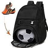 Youth Soccer Bags - Sports Backpacks for Soccer, Basketball, Football with Ball Holder for Boys Girls - Black