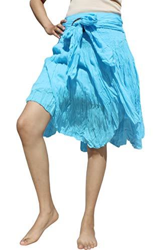 Raan Pah Muang Brand Wild Light Cotton Gypsy Pixie Dancing Short Skirt Coconut Buckle, Medium, Sky Blue Blue Sky Cotton Skirt
