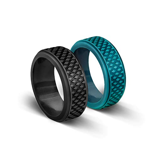 WEIJI Silicone Wedding Ring for Men, Rubber Wedding Bands with Crosshatch-Unique Design & Popular Color & Durable, 2 Pack