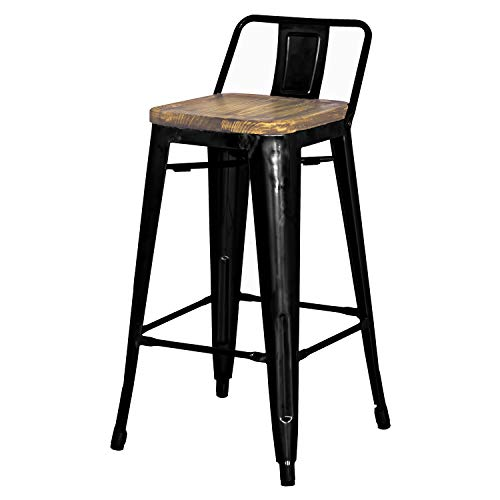 New Pacific Direct Metropolis Metal Low Back Bar Stool 30 Wood Seat,Indoor Outdoor Ready,Black,Set of 4