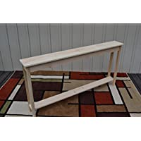 Unfinished 60 Narrow Console Sofa Foyer Shaker Square Edge Pine Table w/Shelf