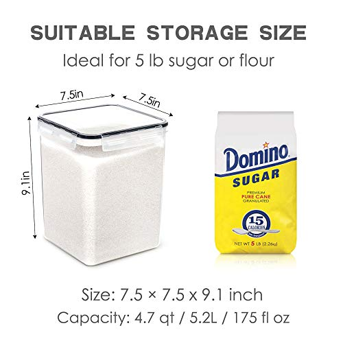 Large Food Storage Containers with Lids Airtight 5.2L /175Oz, for Flour, Sugar, Baking Supply and Dry Food Storage, PantryStar 3PCS BPA Free Plastic Canisters for Kitchen Pantry Organization