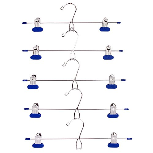 LOHAS Home 10-Pack Add-On Hangers Stackable Hangers Metal Pants Skirt Hangers with 2-Adjustable Clips