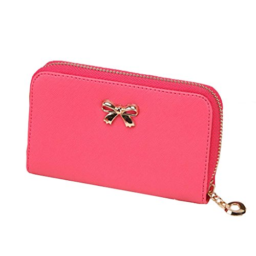 Price comparison product image Bow Short Wallet,  Paymenow Women Korean Cute Bowknot Purse Solid Wearable Short Wallet Handbag (Hot Pink)