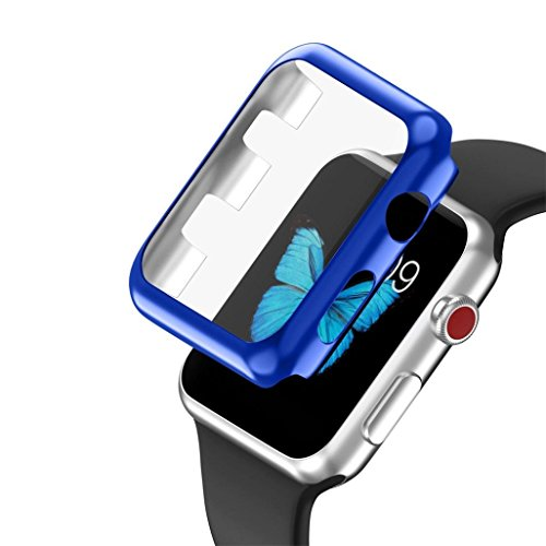 Apple Watch 3 42mm Case, SUKEQ Ultra Thin Electroplate PC Hard Case Cover All Around Full Screen Protector Coverage For Apple Watch Series 3 42mm (Blue) by SUKEQ (Image #1)