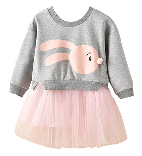Toddler Bunny Top and Tutu Skirt, Cute Little Baby Girls Fancy Princess Tulle Frock Dress(Grey,100) for $<!--$13.88-->