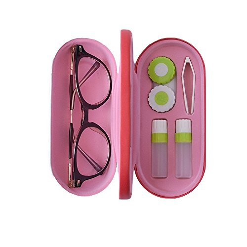 Maeolsa Eye Glasses Case and Contact Lens Case 2 in 1 with Mirror Chinese Painting Style