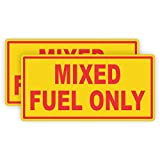 (Pair) Mixed Fuel Only Vinyl Decals | Stickers | Label Oil Fuel Gas Door Labels Weatherproof Chainsaw Trimmer Edger Snowblower Motorcycle 2 Stroke Cycle